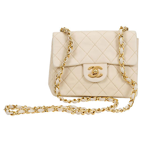 1990s Chanel Beige Mini Flap Bag