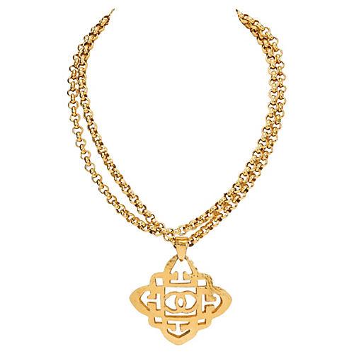 1980s Chanel Logo Pendant Necklace
