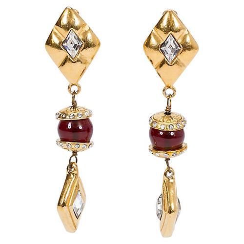 1970s Chanel Long Red Gripoix Earrings