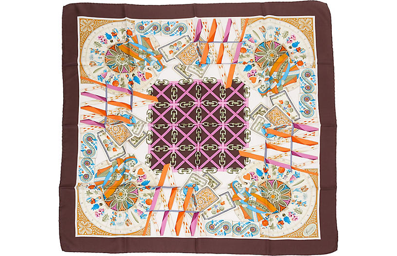 Gucci Plum Silk House of Cards Scarf