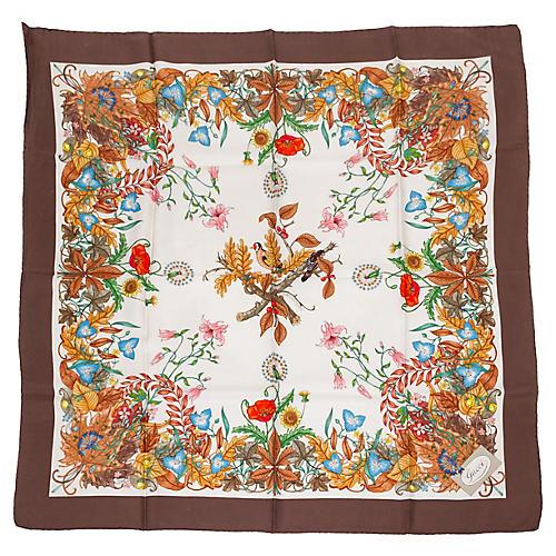 Gucci Harvest Accornero Brown Silk Scarf