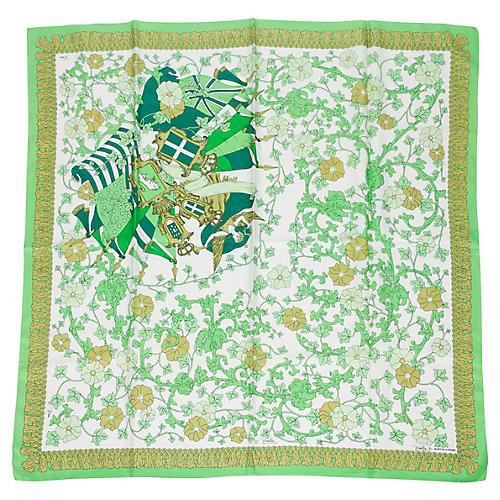 Pucci Silk Print Green Floral Scarf