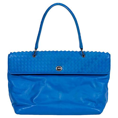 Bottega Veneta Turquoise Woven Handbag