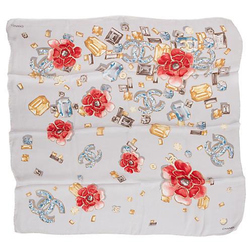 Chanel Silk Chiffon Floral Scarf