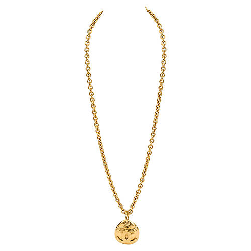 Chanel Quilted CC Logo Drop Necklace