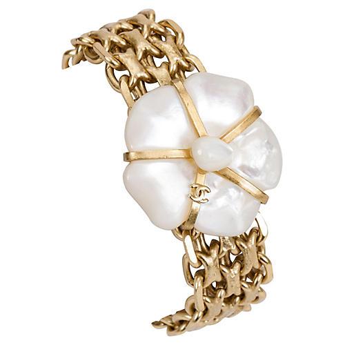 Chanel Mother-of-Pearl Flower Bracelet