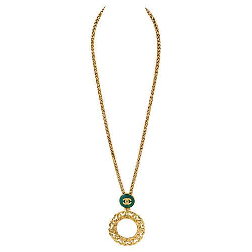 Chanel Green Gripoix Mirror Necklace
