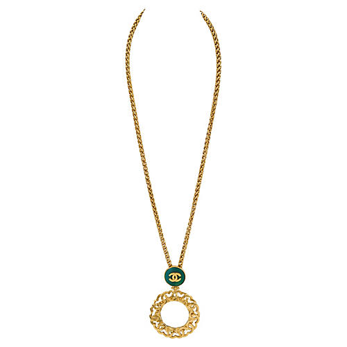 Chanel Green Gripoix Mirror Necklace