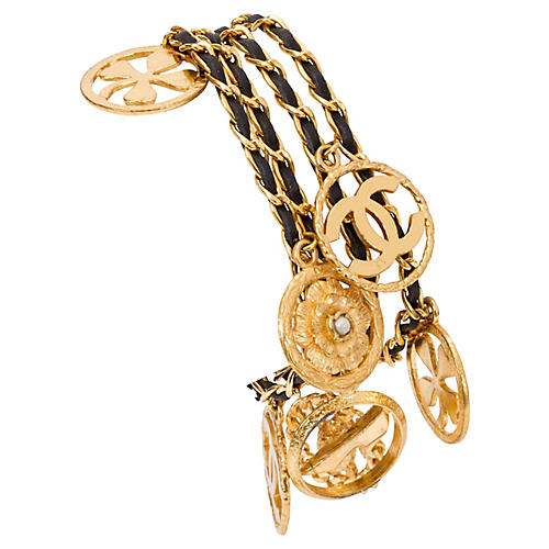 Chanel Leather and Charms Gold Bracelet