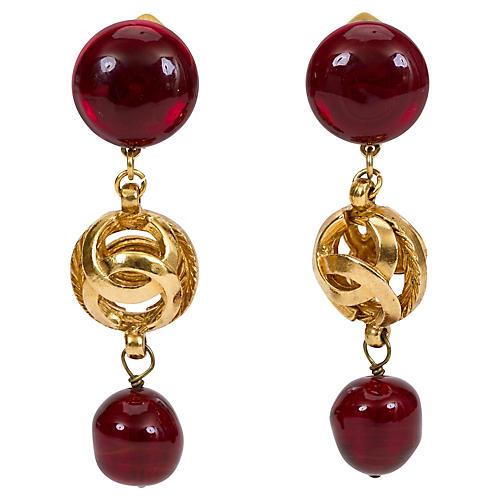 Chanel Red Gripoix Drop Earrings