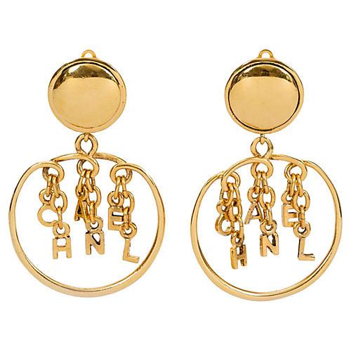 1980s Chanel Dangling Letters Earrings