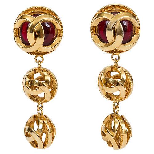 Chanel Red Gripoix Logo Dangle Earrings