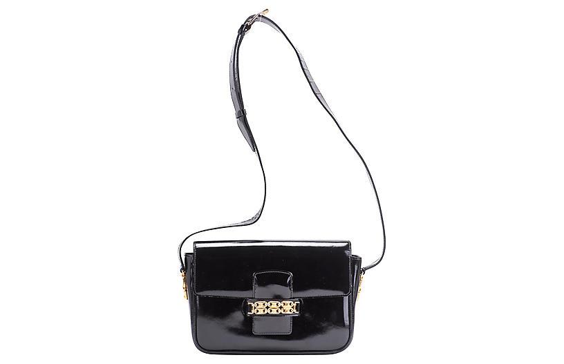 Celine Black Patent Shoulder Bag