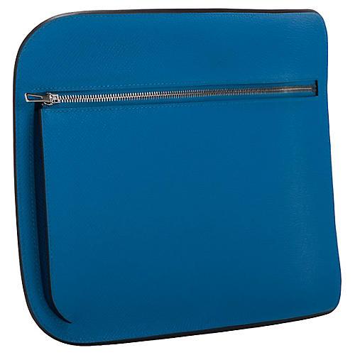 Hermès Blue Zanzibar Epsom Clutch