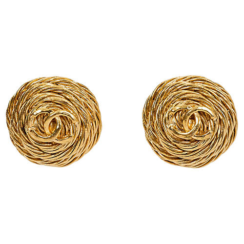 Chanel Rope Logo Earrings