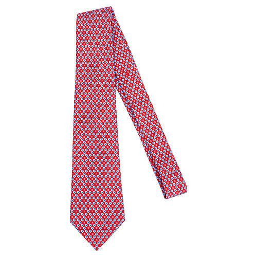 Chanel Red Clover Silk Tie