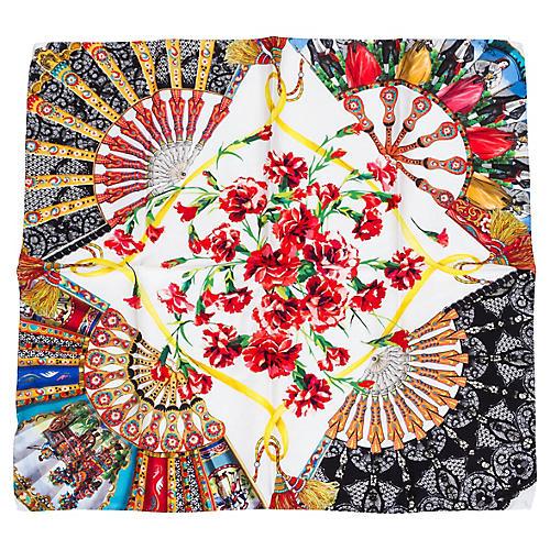 Dolce & Gabbana Floral Lace Silk Scarf