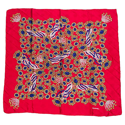 Chanel Red Silk Jewel Scarf