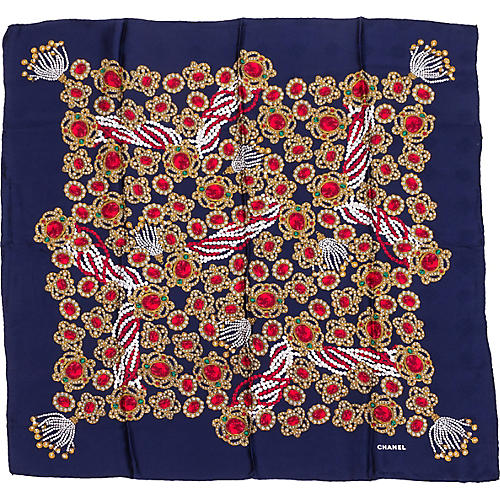 Chanel Navy Jewel Silk Scarf