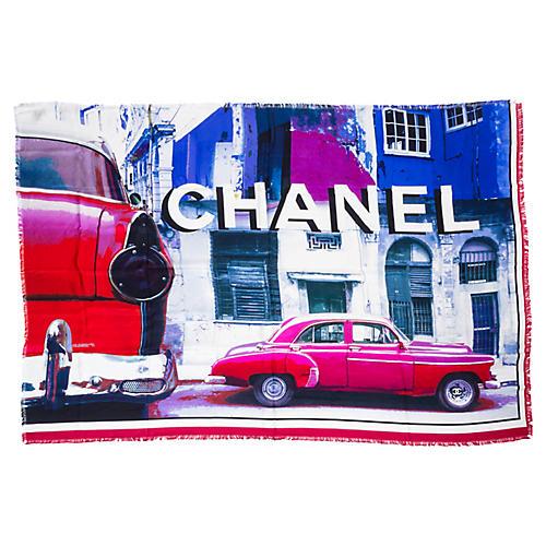 Chanel Silk Fringe Oversize Shawl