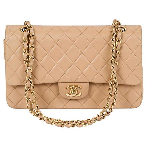 e1450764449d Chanel Beige Lambskin Double Flap Bag. VINTAGEVintage Lux