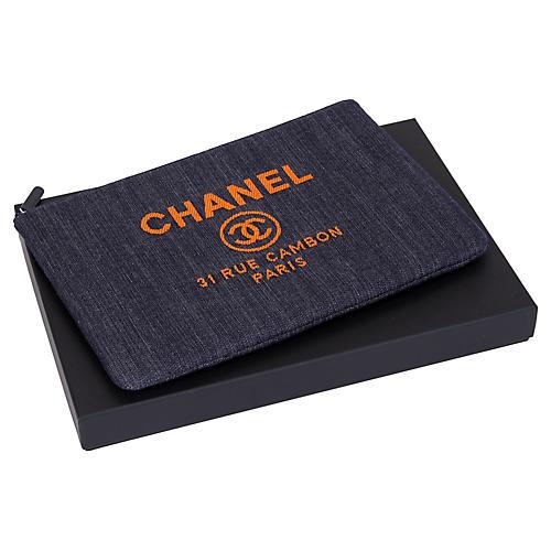 Chanel Large Denim Clutch