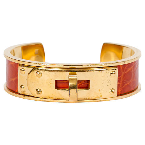 Hermès Orange Crocodile Cuff
