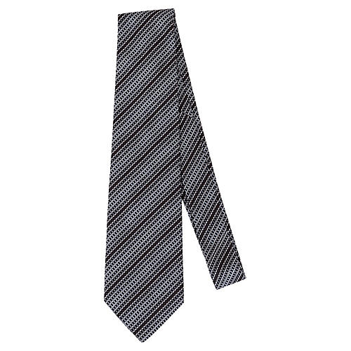 Hermès Black & Silver Silk Tie w/ Box