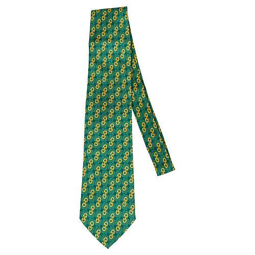 Gucci Kelly Green Link Silk Tie