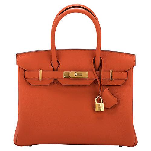 Hermès 30cm Togo Feu & Gold Birkin
