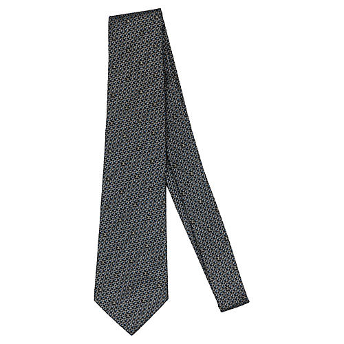 Chanel Gray Logo Silk Tie