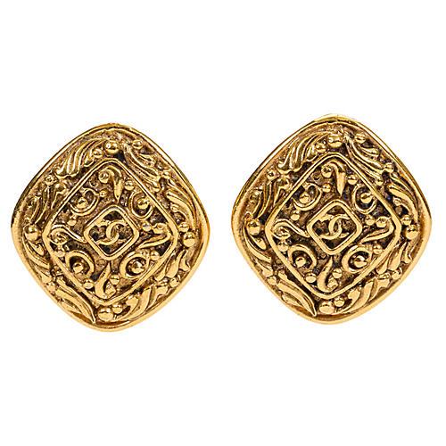 Chanel Diamond-Shaped Logo Earrings