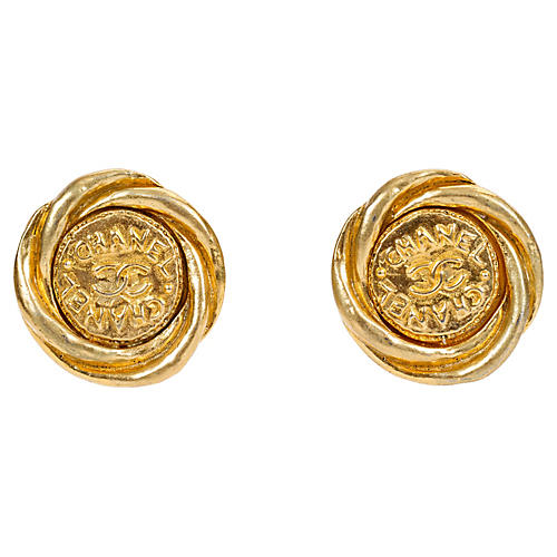 1970s Chanel Round Gold Torchon Earrings