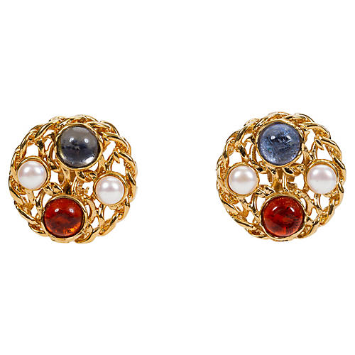 '70s Chanel Chain Gripoix Pearl Earrings