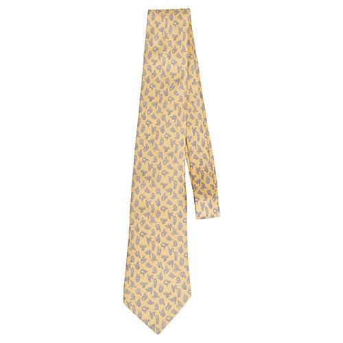 Hermès Yellow Knot Silk Twill Tie