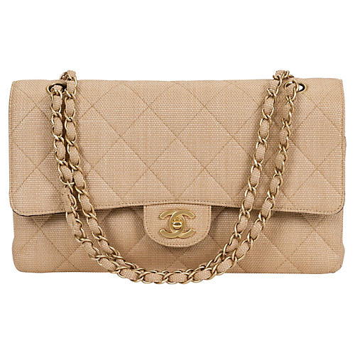 Chanel Beige Straw Classic Double Flap