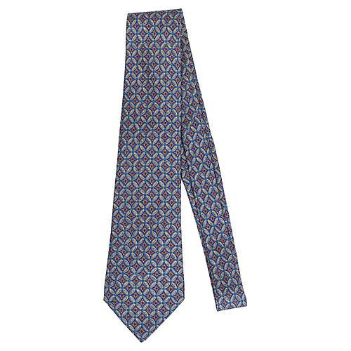 Hermès Blue Silk Ornate Print Tie