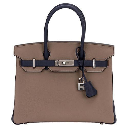 Hermès Etoupe/Blue Togo 30cm Birkin