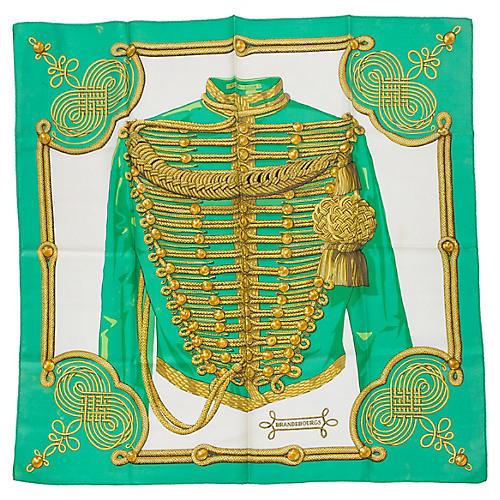 Hermès Kelly Green Brandebourgs Scarf