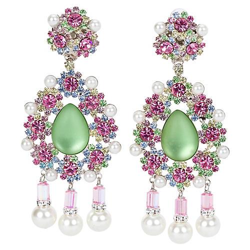 Vrba Green Multi-Stone Drop Earrings