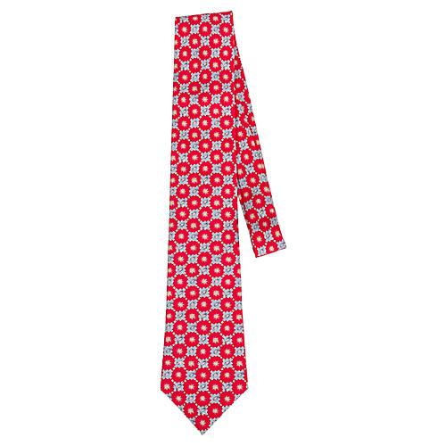 Hermès Red Floral Print Silk Tie
