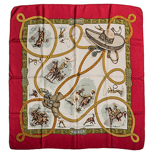 Hermès Red Silk Twill Charreada Scarf
