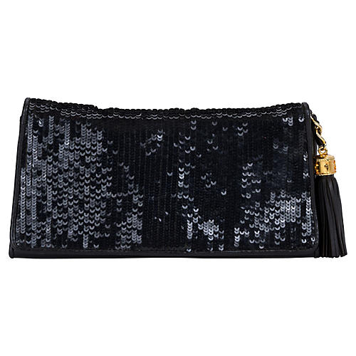 1980s Chanel Black Sequin Evening Bag