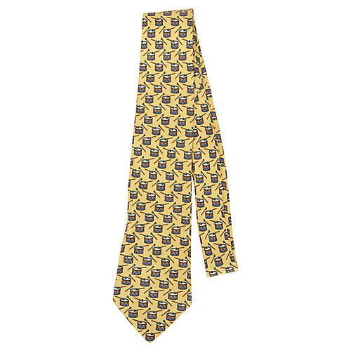 Hermès Yellow Silk Drum Tie