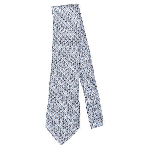 Hermès Blue Bird Print Tie
