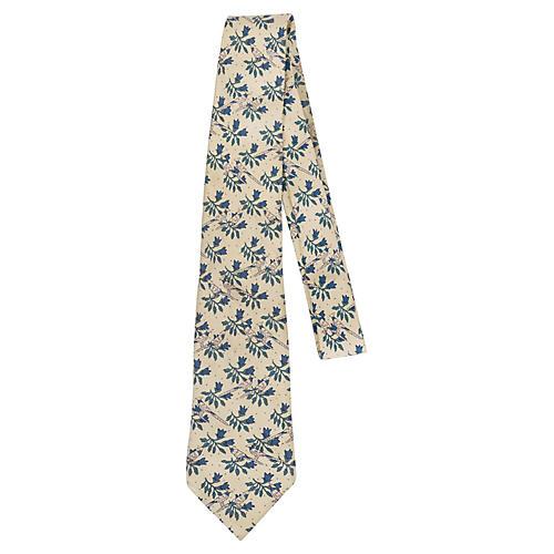 Hermès Pale Yellow Silk Bird Tie