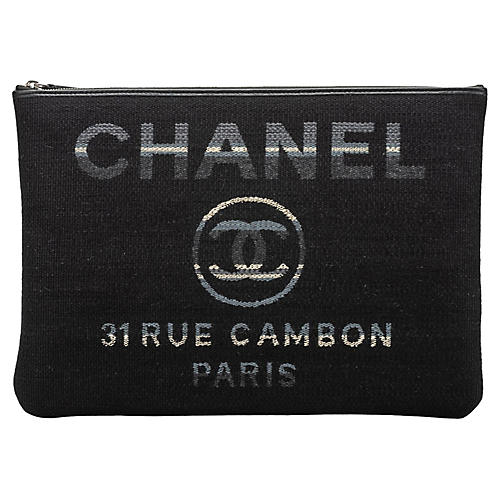 Chanel Large Black Striped Clutch