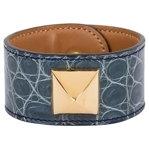 Hermès Gray Croc Medor Bracelet