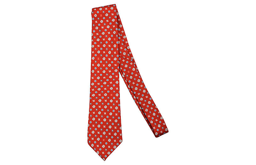Chanel Red Silk Floral Tie