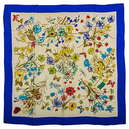 Gucci Blue Floral Print Scarf